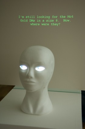 The interactive mannequin ponders its answers...